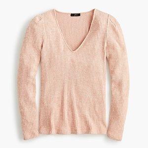 2 for $20/ J Crew Pink Puff Shoulder V neck top